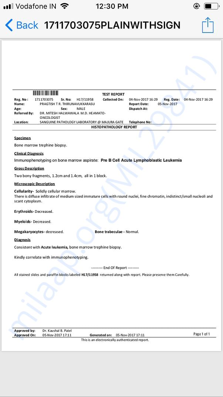 Histopathalogy report