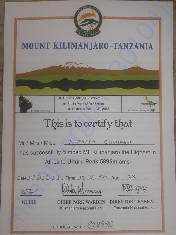 Cerificate Climb Mt Kilimanjaro