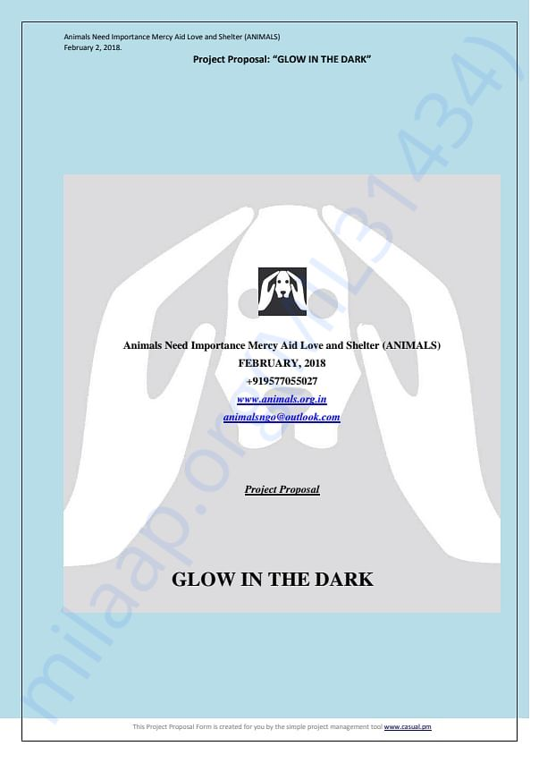 """""""Glow in the dark"""" project for street dogs to prevent accidents etc."""