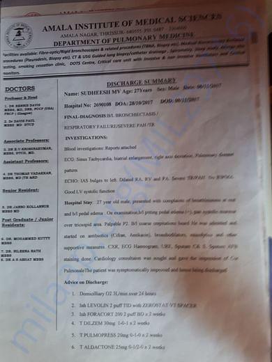 Hospital report of sudheesh.