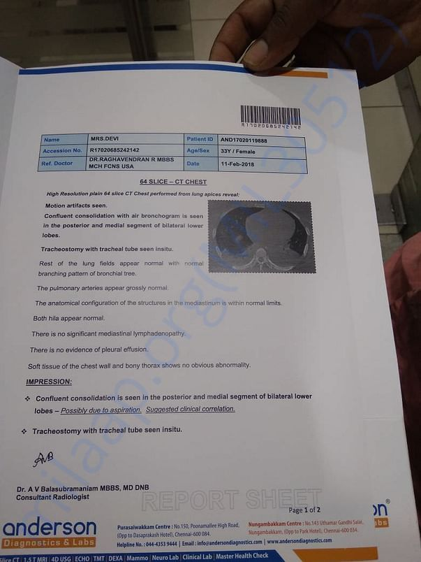 Part of medical report