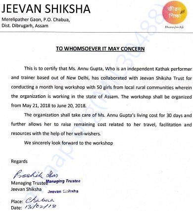 Official letter of collaboration with Jeevan Shiksha, Assam