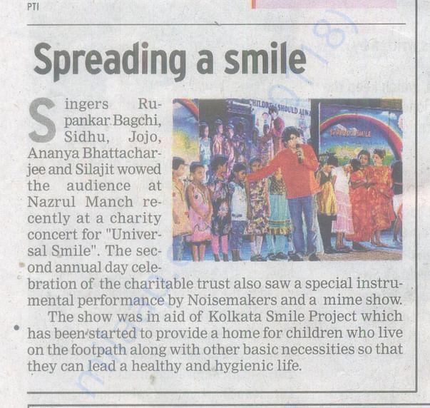 Times of India, Universal Smile activity news feed