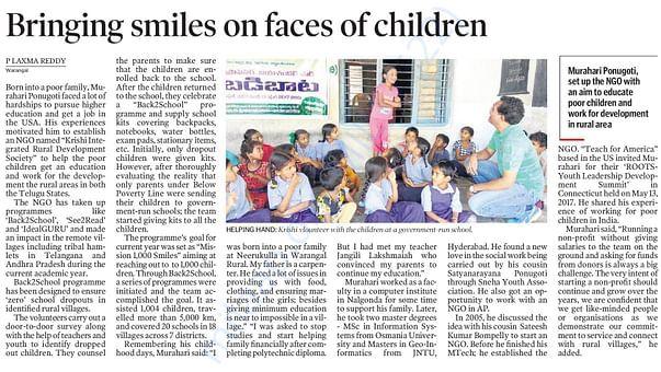 Telangana Today Coverage on Krishi NGO