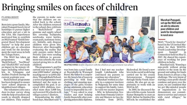 Telangana Today Coverage on Krishi NGO