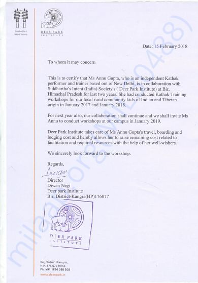 Official Letter of Collaboration with Deer Park Institute, Bir, H.P.