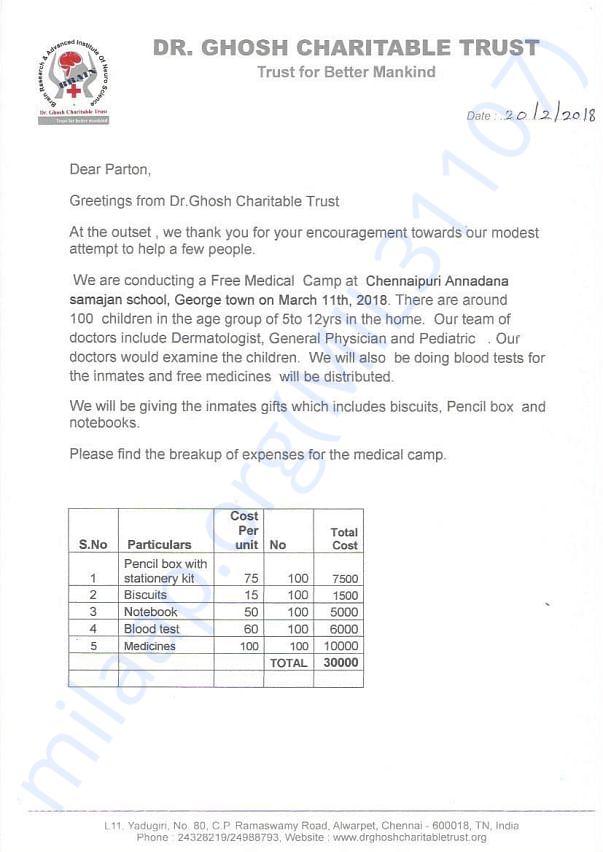 Appeal for Medical camp