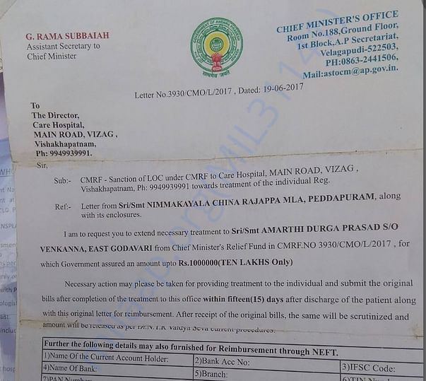 Chief MInister Relief Fund letter
