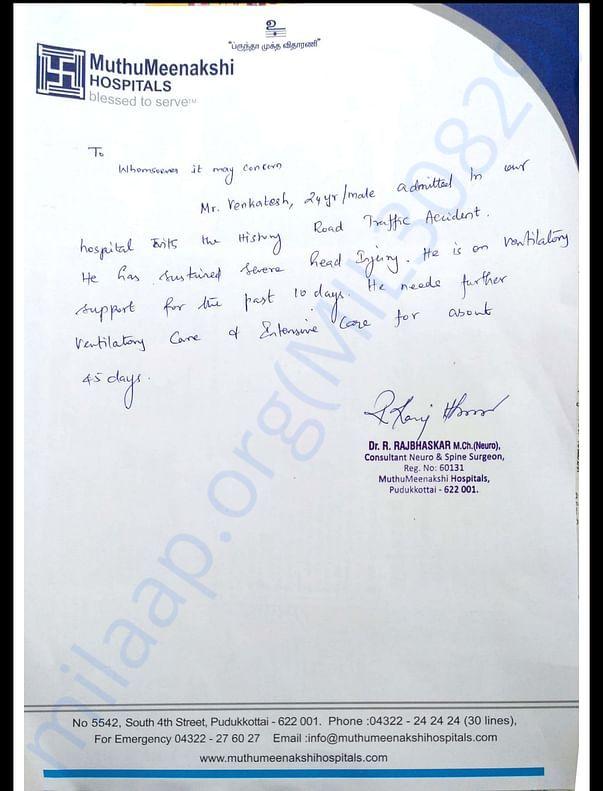 Venkat health status - Doctor's letter