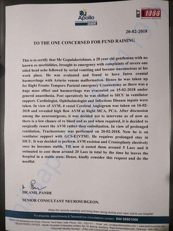 Help Gopalakrishnan to overcome Brain stroke