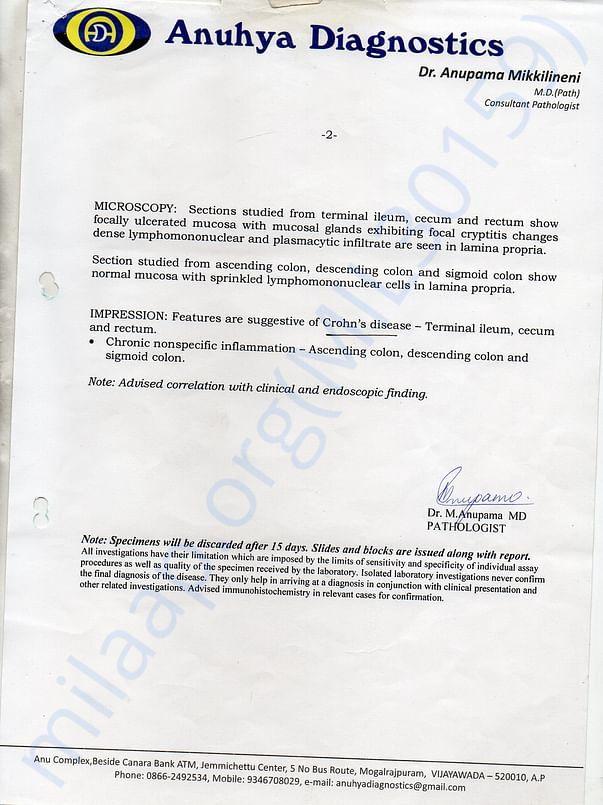 pathology report page 2