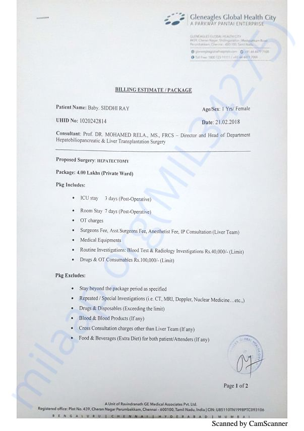 Billing Estimate of  chennai golobal hospital