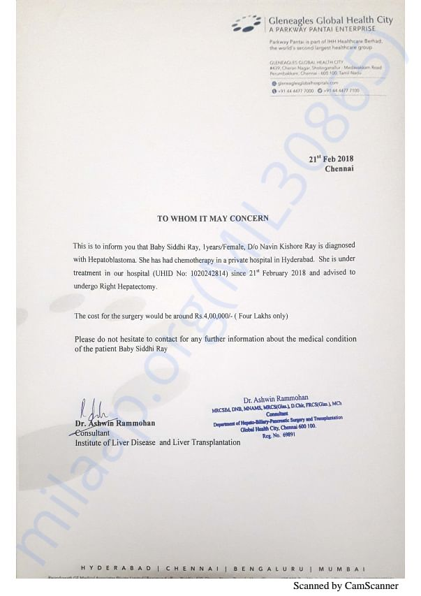 Doctor's letter for all bill and details