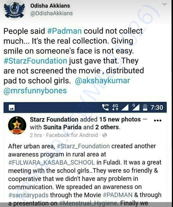 A tweet from akshay Kumar official fan club