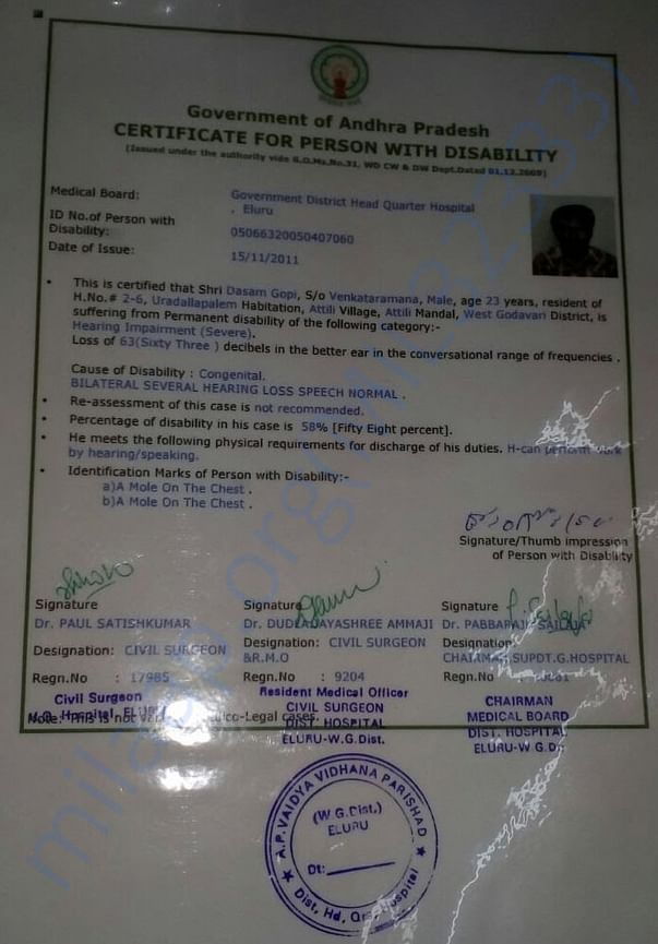 Physically Handicap Certificate of Paawan's Father