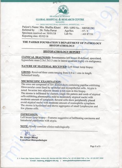 Histopathology Report