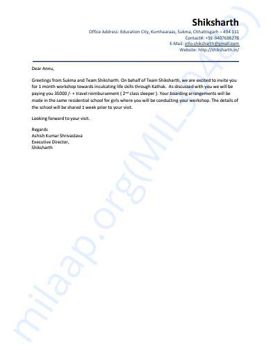 Official Letter of Collaboration with Shiksharth, Sukma, Chhattisgarh