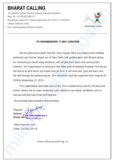 Official Letter of Collaboration with Bharat Calling, Itarsi, M.P.