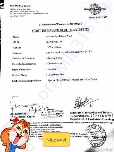 Hospital cost estimates for treatment