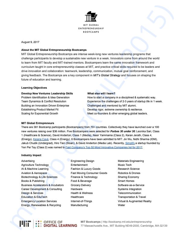 MIT Bootcamp Impact Report 2017