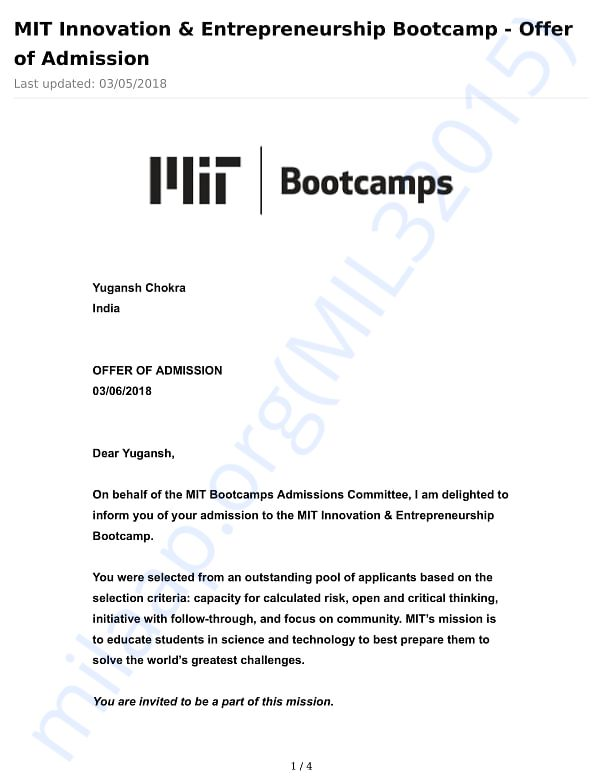 Admission Offer Letter from MIT