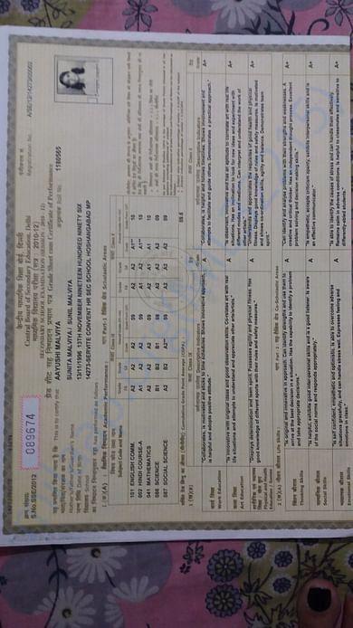 Higher secondary mark sheet