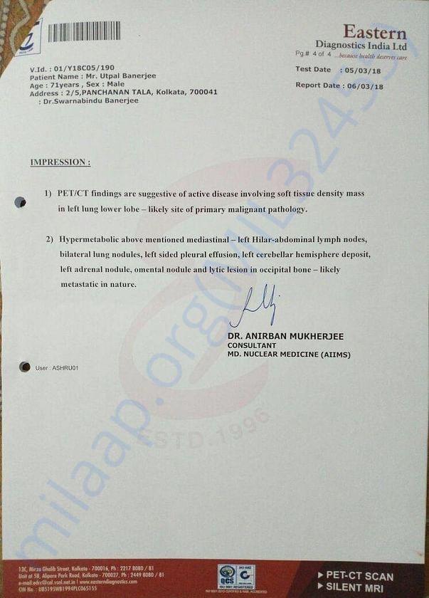 Medical test report