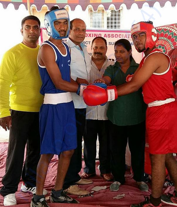 Issuing Training Material to the Boxers at Mahabubnagar Stadium