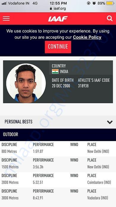IAAF profile