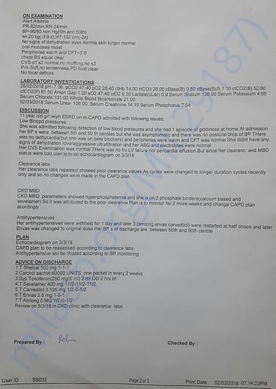 Recent discharge summary 2nd page