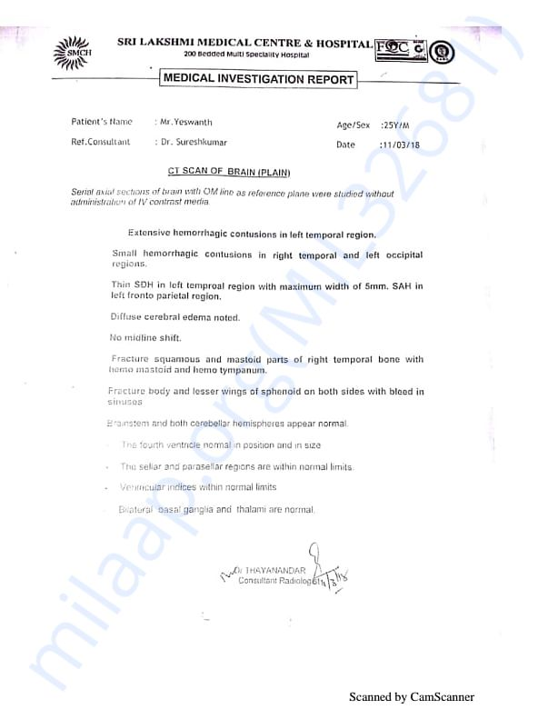 Medical report given as soon he was admitted in hospital