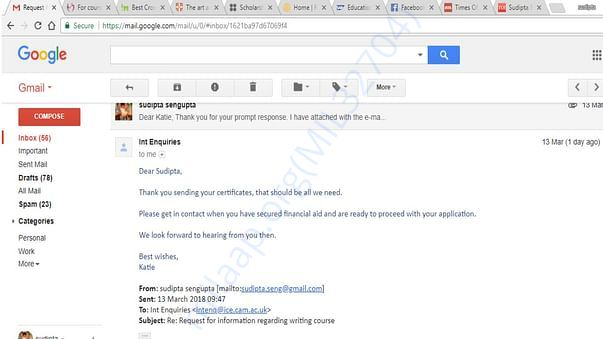 screenshot of letter from university, confirming application