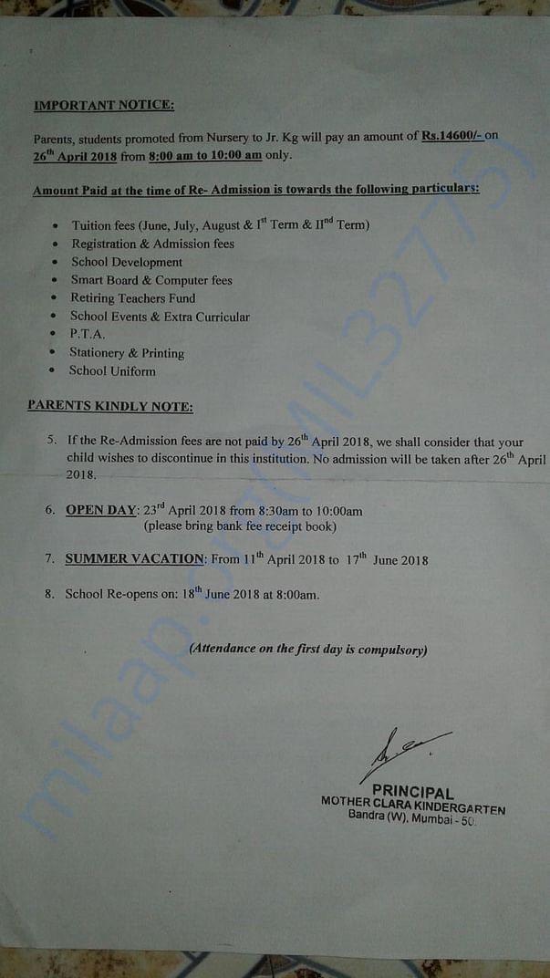 Admission Fee letter