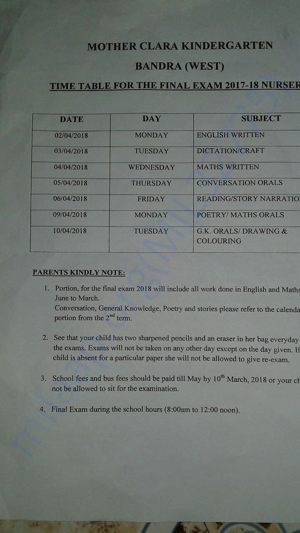 Time table for Exam