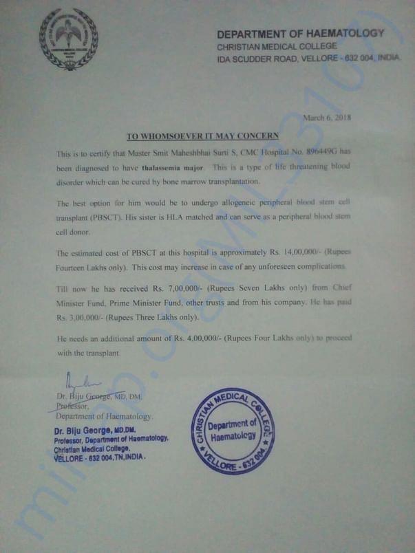 CMC hospital , Estimation letter