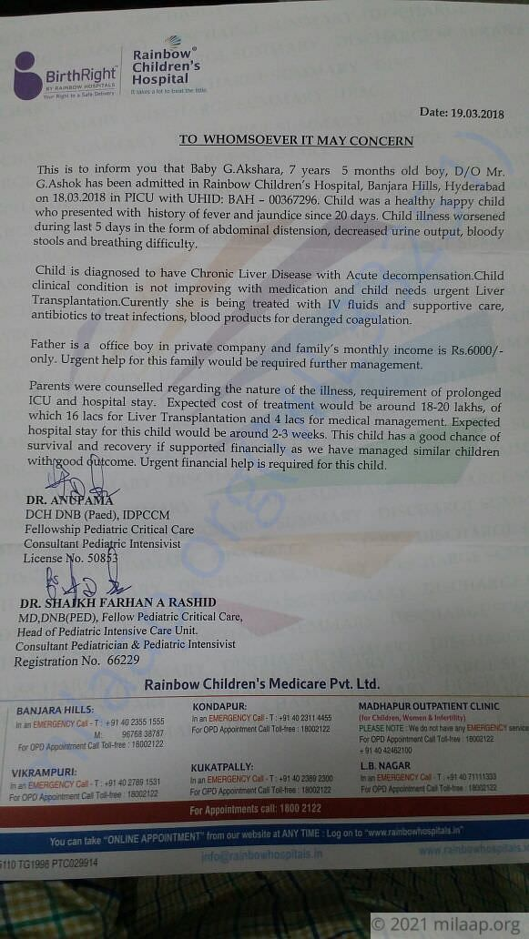 This is the letter given from the hospital.