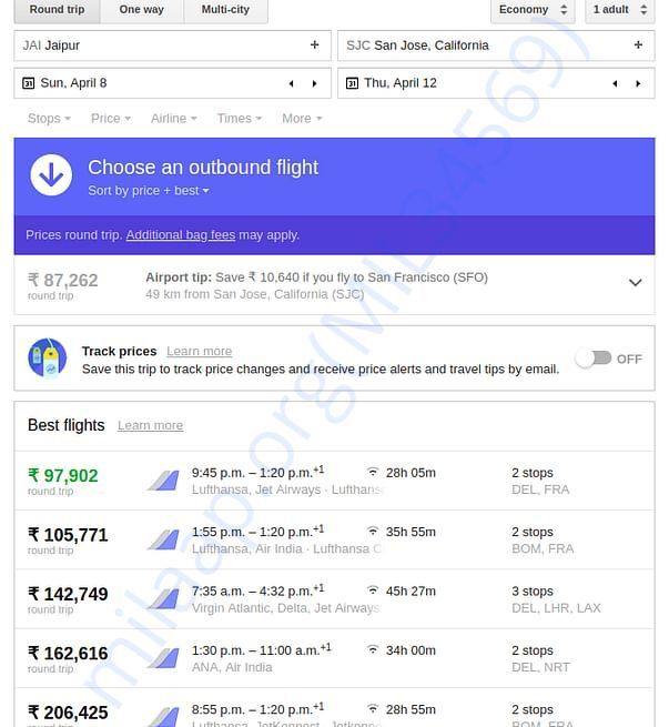 Facebook F8 2018 Flight Cost - Jaipur to San Jose (Round Trip)