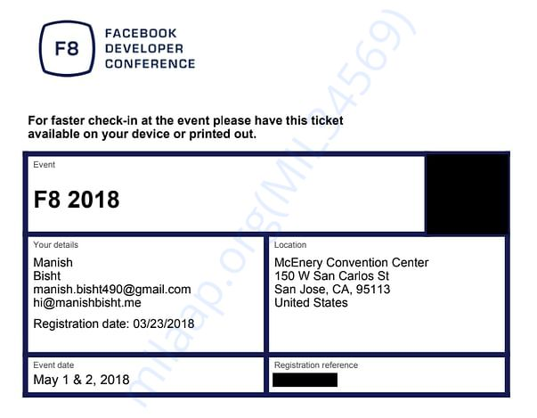 Facebook F8 2018 Confirmation Ticket