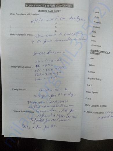 Admission documents of emergency room of civil hospital fazilka