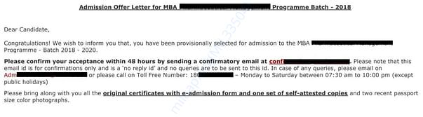 Admission Letter (continued)