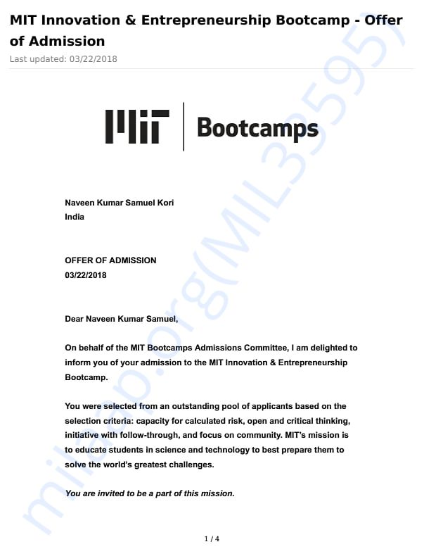 MIT Bootcamp Acceptance letter