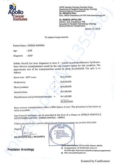 Cost Estimation of Debika Bone Marrow Transplant