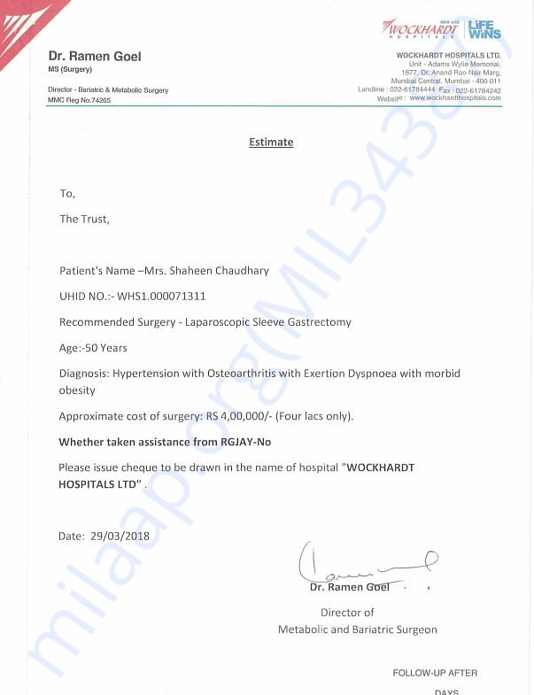 Shaheen Chawdary Medical Estimate