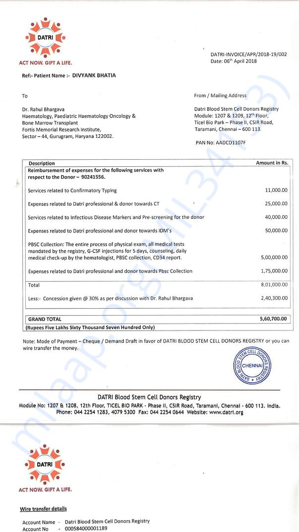 Stem Cell Donation Invoice