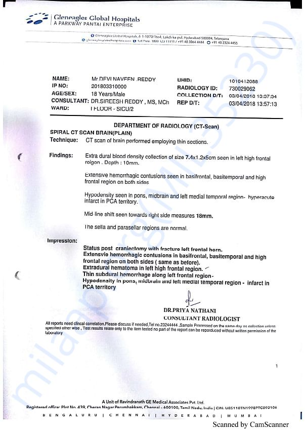 naveen's medical reports