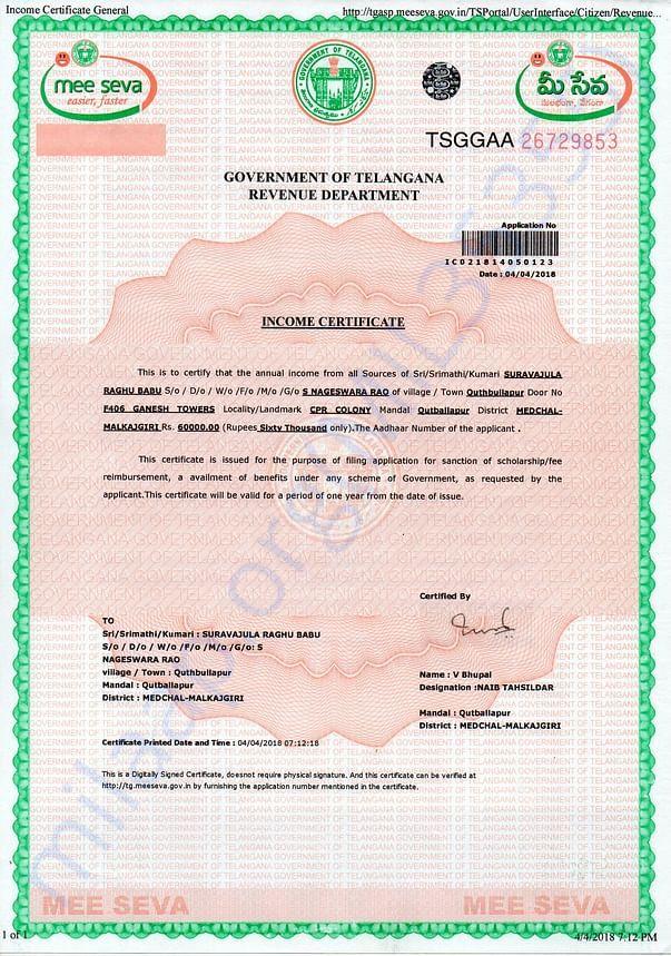 Father Income Certificate