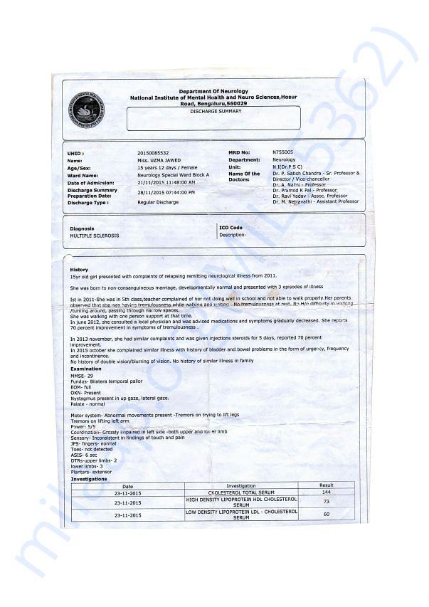 Admit Letter- NIMHANS Bangalore