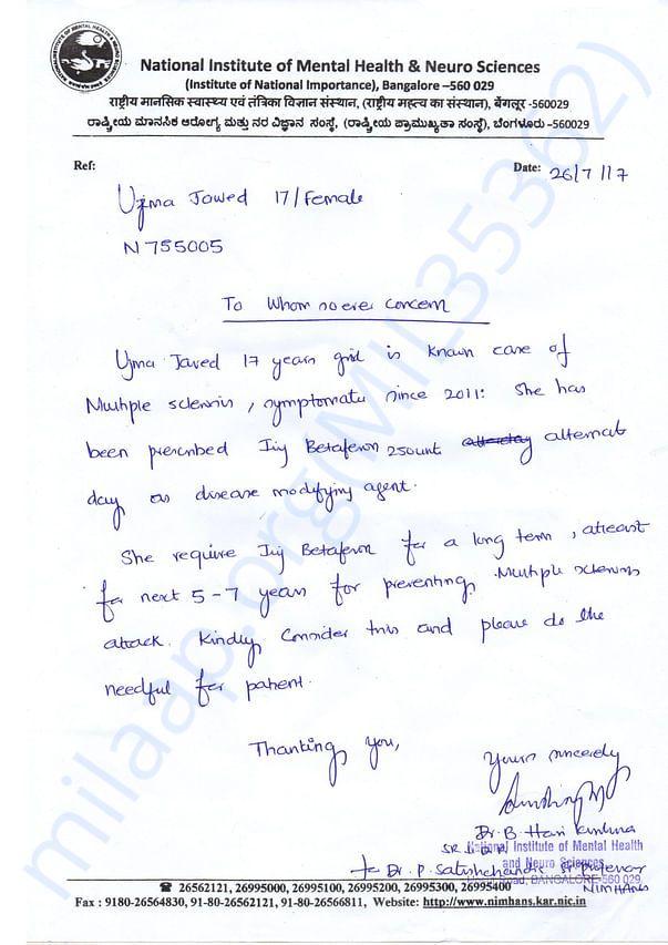 Doctor's Letter NIMHANS BANGALORE