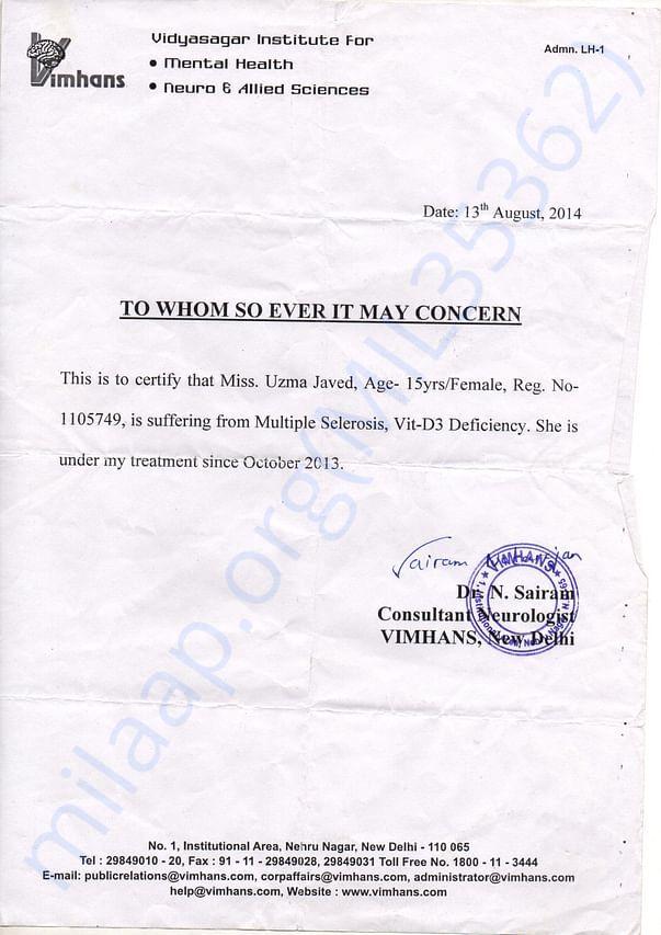 Doctor's Letter- Vimhans New Delhi