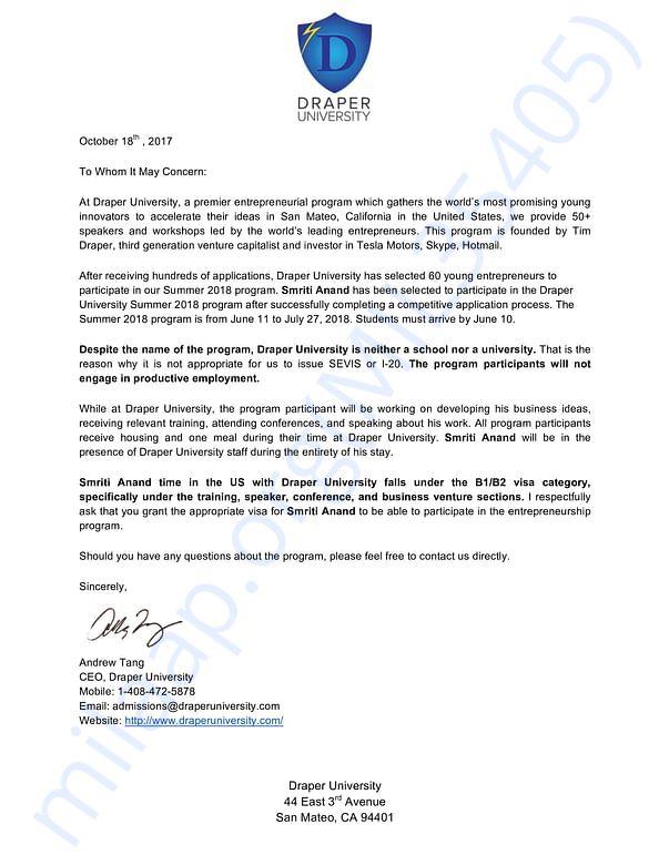 Confirmation letter from Draper University
